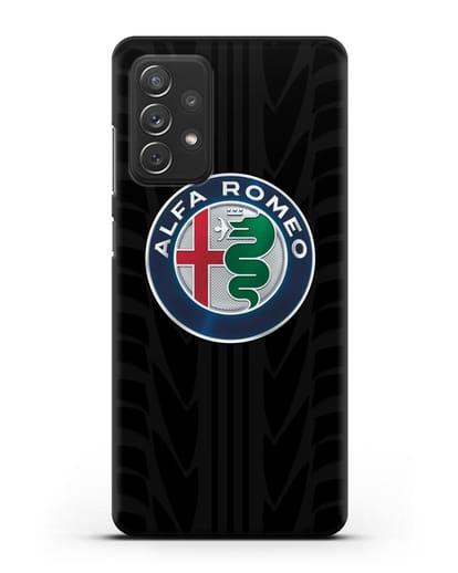 Чехол с эмблемой Alfa Romeo с протектором шин силикон черный для Samsung Galaxy A72 [SM-A725F]