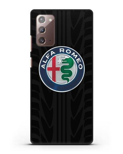 Чехол с эмблемой Alfa Romeo с протектором шин силикон черный для Samsung Galaxy Note 20 [SM-N980F]