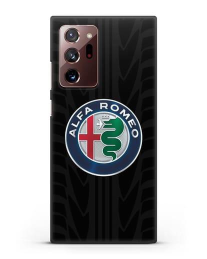 Чехол с эмблемой Alfa Romeo с протектором шин силикон черный для Samsung Galaxy Note 20 Ultra [SM-N985F]