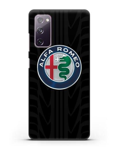Чехол с эмблемой Alfa Romeo с протектором шин силикон черный для Samsung Galaxy S20 FE [SM-G780F]