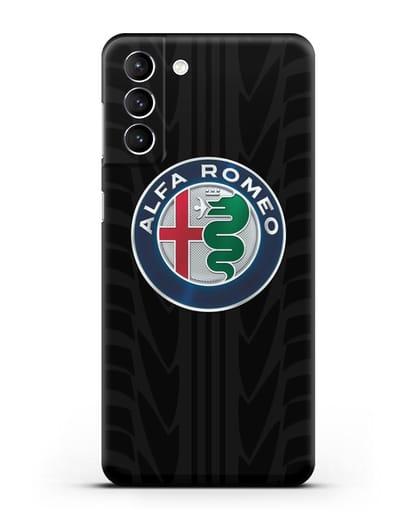 Чехол с эмблемой Alfa Romeo с протектором шин силикон черный для Samsung Galaxy S21 Plus [SM-G996B]