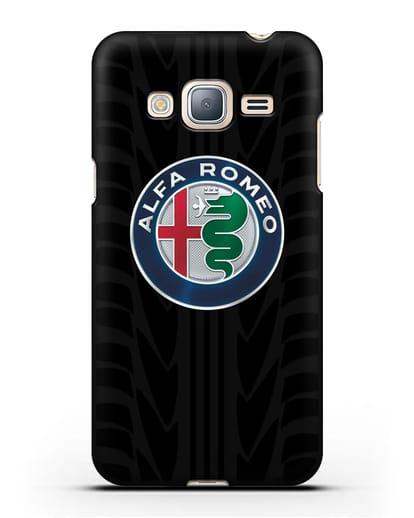 Чехол с эмблемой Alfa Romeo с протектором шин силикон черный для Samsung Galaxy J3 2016 [SM-J320F]