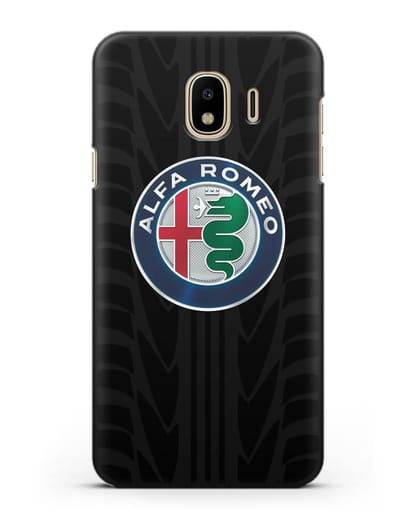 Чехол с эмблемой Alfa Romeo с протектором шин силикон черный для Samsung Galaxy J4 2018 [SM-J400F]