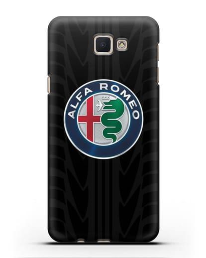 Чехол с эмблемой Alfa Romeo с протектором шин силикон черный для Samsung Galaxy J5 Prime [SM-G570]