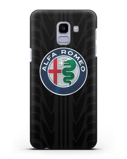 Чехол с эмблемой Alfa Romeo с протектором шин силикон черный для Samsung Galaxy J6 2018 [SM-J600F]