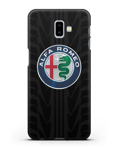 Чехол с эмблемой Alfa Romeo с протектором шин силикон черный для Samsung Galaxy J6 Plus [SM-J610F]