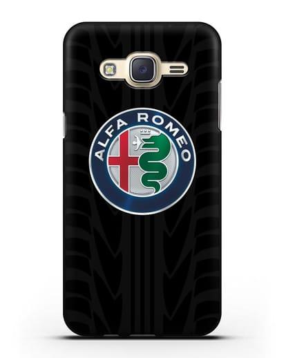 Чехол с эмблемой Alfa Romeo с протектором шин силикон черный для Samsung Galaxy J7 Neo [SM-J701F]