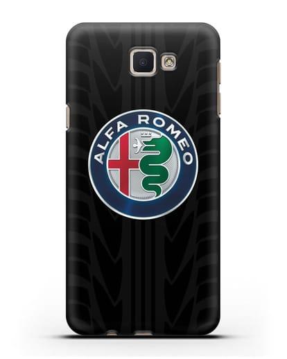 Чехол с эмблемой Alfa Romeo с протектором шин силикон черный для Samsung Galaxy J7 Prime [SM-G610F]