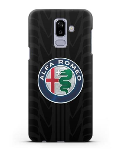 Чехол с эмблемой Alfa Romeo с протектором шин силикон черный для Samsung Galaxy J8 2018 [SM-J810F]