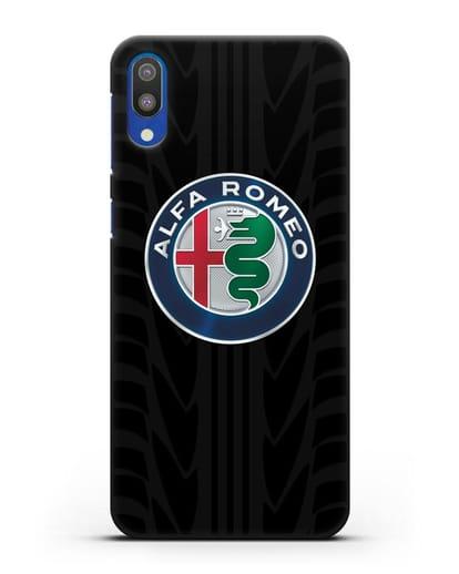 Чехол с эмблемой Alfa Romeo с протектором шин силикон черный для Samsung Galaxy M10 [SM-M105F]