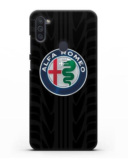 Чехол с эмблемой Alfa Romeo с протектором шин силикон черный для Samsung Galaxy M11 [SM-M115F]