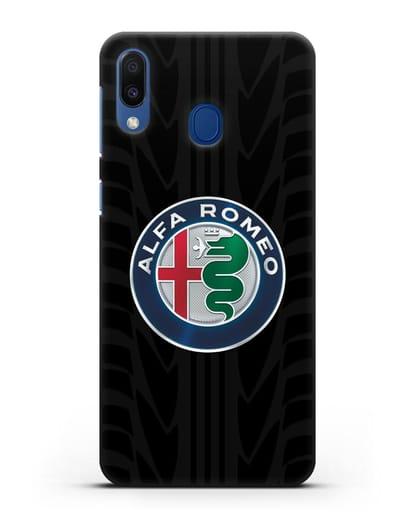 Чехол с эмблемой Alfa Romeo с протектором шин силикон черный для Samsung Galaxy M20 [SM-M205F]
