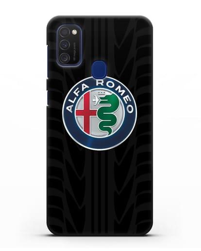 Чехол с эмблемой Alfa Romeo с протектором шин силикон черный для Samsung Galaxy M21 [SM-M215F]