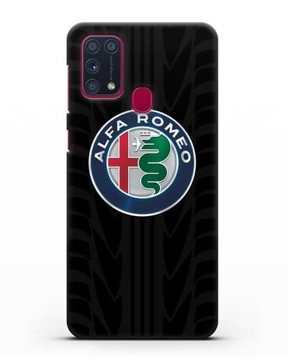 Чехол с эмблемой Alfa Romeo с протектором шин силикон черный для Samsung Galaxy M31 [SM-M315F]