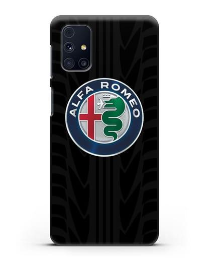 Чехол с эмблемой Alfa Romeo с протектором шин силикон черный для Samsung Galaxy M31s [SM-M317F]