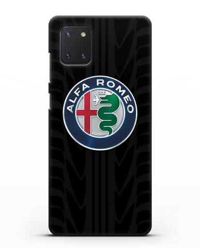 Чехол с эмблемой Alfa Romeo с протектором шин силикон черный для Samsung Galaxy Note 10 Lite [N770F]