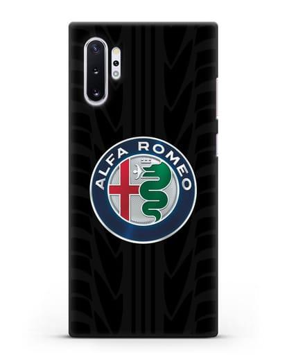 Чехол с эмблемой Alfa Romeo с протектором шин силикон черный для Samsung Galaxy Note 10 Plus [N975F]