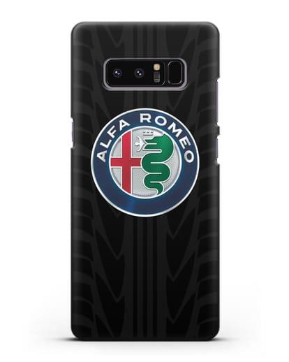 Чехол с эмблемой Alfa Romeo с протектором шин силикон черный для Samsung Galaxy Note 8 [N950F]