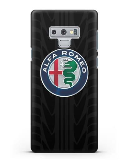 Чехол с эмблемой Alfa Romeo с протектором шин силикон черный для Samsung Galaxy Note 9 [N960F]