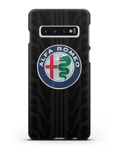 Чехол с эмблемой Alfa Romeo с протектором шин силикон черный для Samsung Galaxy S10 Plus [SM-G975F]