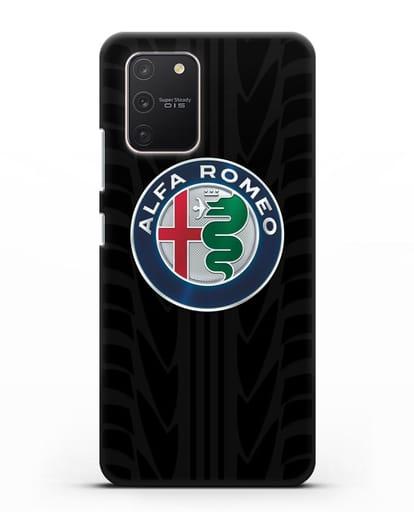 Чехол с эмблемой Alfa Romeo с протектором шин силикон черный для Samsung Galaxy S10 lite [SM-G770F]