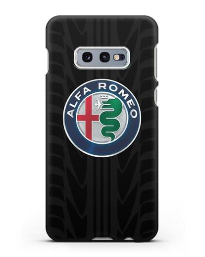 Чехол с эмблемой Alfa Romeo с протектором шин силикон черный для Samsung Galaxy S10e [SM-G970F]