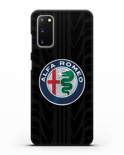 Чехол с эмблемой Alfa Romeo с протектором шин силикон черный для Samsung Galaxy S20 [SM-G980F]