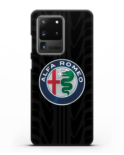 Чехол с эмблемой Alfa Romeo с протектором шин силикон черный для Samsung Galaxy S20 Ultra [SM-G988B]