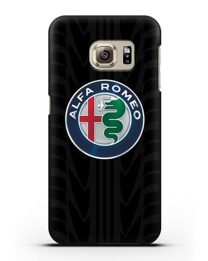 Чехол с эмблемой Alfa Romeo с протектором шин силикон черный для Samsung Galaxy S6 Edge [SM-G925F]