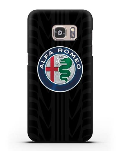 Чехол с эмблемой Alfa Romeo с протектором шин силикон черный для Samsung Galaxy S7 Edge [SM-G935F]