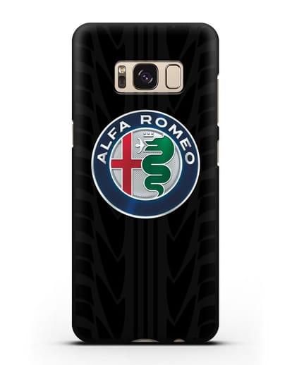 Чехол с эмблемой Alfa Romeo с протектором шин силикон черный для Samsung Galaxy S8 [SM-950F]