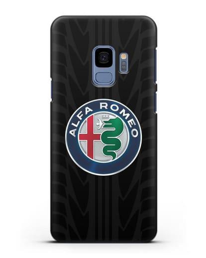 Чехол с эмблемой Alfa Romeo с протектором шин силикон черный для Samsung Galaxy S9 [SM-G960F]