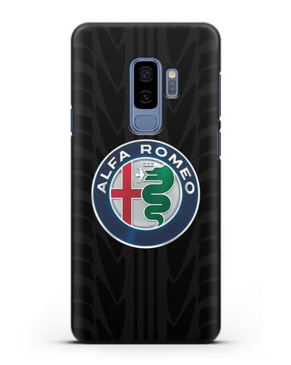 Чехол с эмблемой Alfa Romeo с протектором шин силикон черный для Samsung Galaxy S9 Plus [SM-G965F]