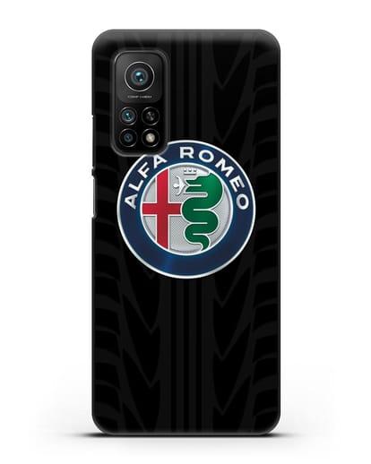 Чехол с эмблемой Alfa Romeo с протектором шин силикон черный для Xiaomi Mi 10T