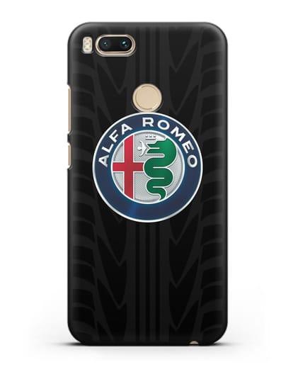 Чехол с эмблемой Alfa Romeo с протектором шин силикон черный для Xiaomi Mi A1