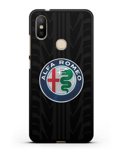 Чехол с эмблемой Alfa Romeo с протектором шин силикон черный для Xiaomi Mi A2