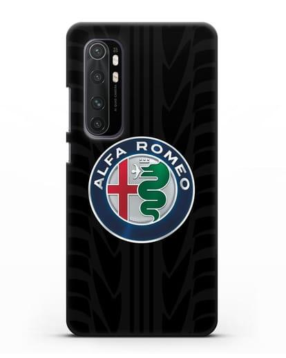Чехол с эмблемой Alfa Romeo с протектором шин силикон черный для Xiaomi Mi Note 10 lite
