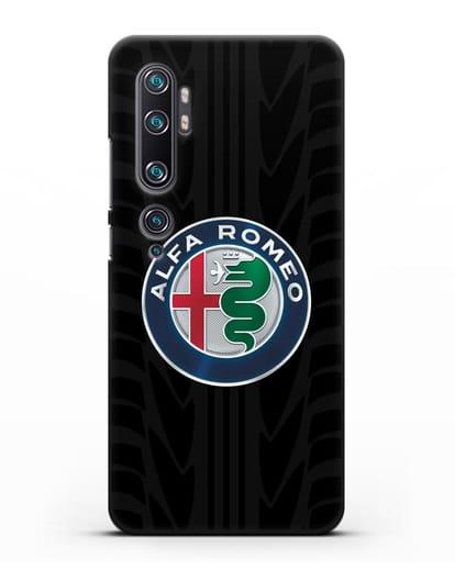 Чехол с эмблемой Alfa Romeo с протектором шин силикон черный для Xiaomi Mi Note 10 Pro
