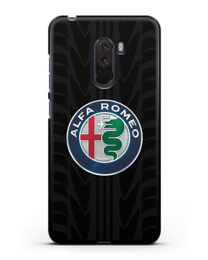 Чехол с эмблемой Alfa Romeo с протектором шин силикон черный для Xiaomi Pocophone F1