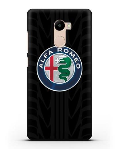 Чехол с эмблемой Alfa Romeo с протектором шин силикон черный для Xiaomi Redmi 4