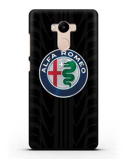 Чехол с эмблемой Alfa Romeo с протектором шин силикон черный для Xiaomi Redmi 4 Pro
