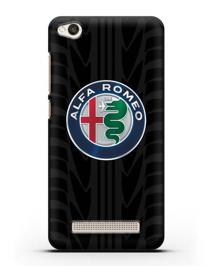 Чехол с эмблемой Alfa Romeo с протектором шин силикон черный для Xiaomi Redmi 4A