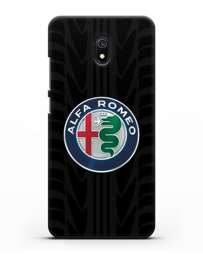 Чехол с эмблемой Alfa Romeo с протектором шин силикон черный для Xiaomi Redmi 8A