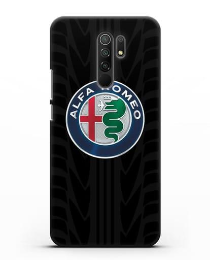 Чехол с эмблемой Alfa Romeo с протектором шин силикон черный для Xiaomi Redmi 9