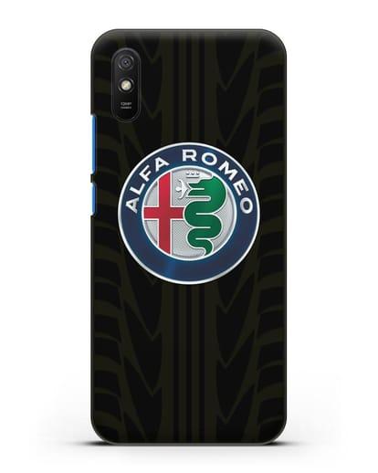 Чехол с эмблемой Alfa Romeo с протектором шин силикон черный для Xiaomi Redmi 9A
