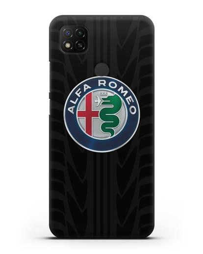 Чехол с эмблемой Alfa Romeo с протектором шин силикон черный для Xiaomi Redmi 9С