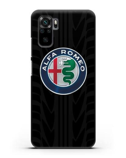 Чехол с эмблемой Alfa Romeo с протектором шин силикон черный для Xiaomi Redmi Note 10