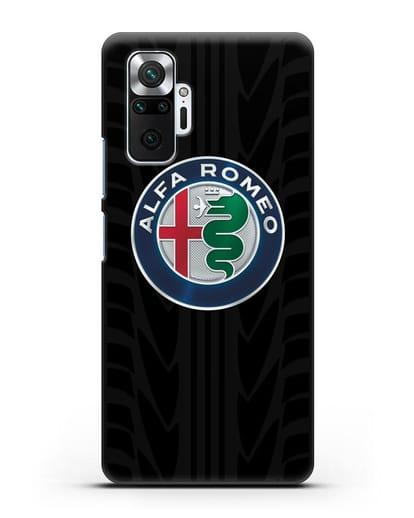 Чехол с эмблемой Alfa Romeo с протектором шин силикон черный для Xiaomi Redmi Note 10 Pro