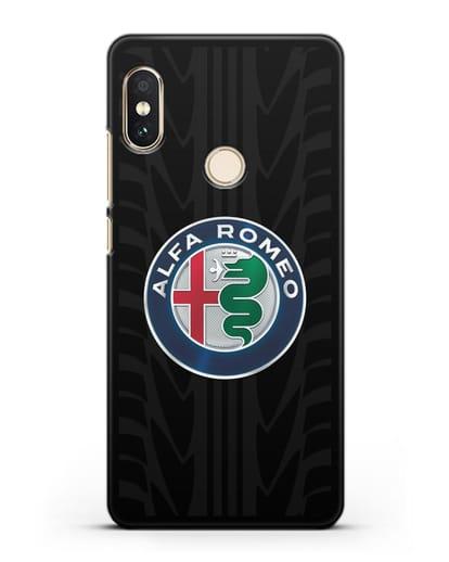Чехол с эмблемой Alfa Romeo с протектором шин силикон черный для Xiaomi Redmi Note 5