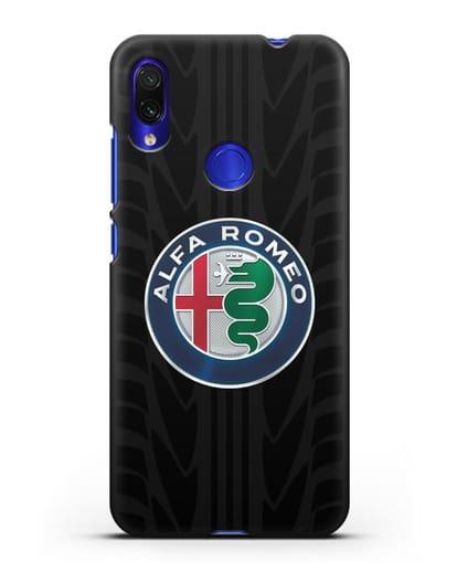 Чехол с эмблемой Alfa Romeo с протектором шин силикон черный для Xiaomi Redmi Note 7